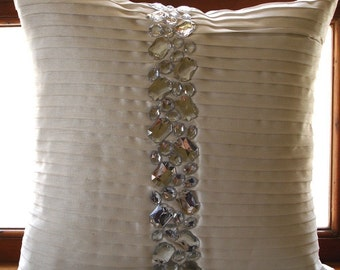 "Luxury White Decorative Pillows Cover, 16""x16"" Silk Pillowcase, Square  Pintucks & Crystals Textured Pillows Cover - Precious Crystals"