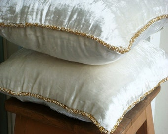 White Shimmer - Euro Sham Covers - 26x26 Inch Euro Sham Cover in Velvet with a handmade beaded border