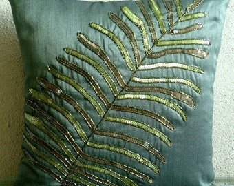 """Luxury  Dark Green Pillows Cover, Leaf Sequins & Beaded Pillows Cover Square  18""""x18"""" Silk Pillows Covers For Couch - Floating Leaf"""