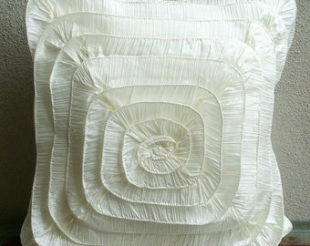 """Ivory Throw Pillows Cover, Vintage Style Frills Medallion Pillow Covers Square  18""""x18"""" Crushed Silk Pillows Covers For Couch-Vintage Frills"""