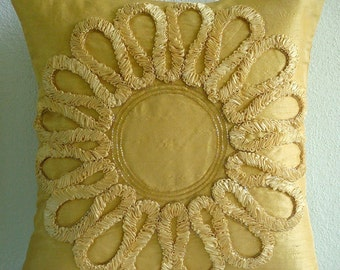 """Gold Decorative Pillow Cover,  Square  Ribbon Flower Medallion Floral Theme 16""""x16"""" Silk Pillows Cover - We All Blossom"""