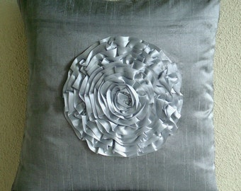 "Luxury Silver Throw Pillow Covers, 16""x16"" Silk Pillow Covers, Square  Ruffle Flower Floral Theme Pillows Cover - Silver Vintageous"