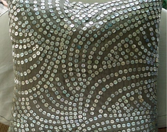 Pearl Nostalgia  - Pillow Sham Covers - 24x24 Inches Silk Pillow Sham Cover with Silver Mother of Pearls