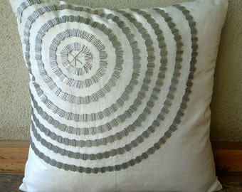 Staying Centered - Pillow Sham Covers - 24X24 Inches Silk Pillow Sham Cover  with Silver Pipes