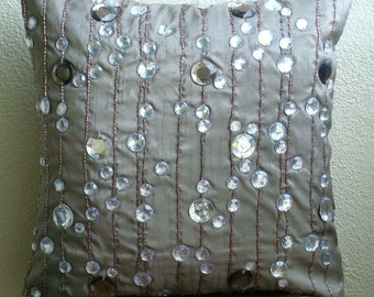 Diamond Strings - Euro Sham Covers - 26x26 Inches Silk Euro sham Cover with Crystals and Bead Embroidery
