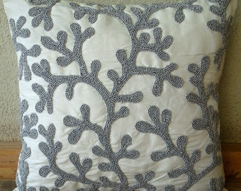 Silver Coral - Pillow Sham Covers - 24x24 Inches Silk Sham Cover with Matte Silver Bead Embroidery