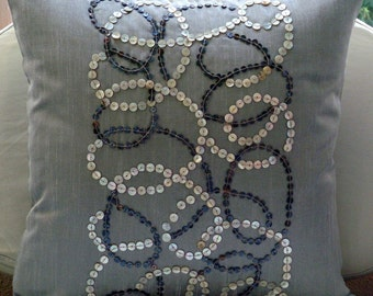 Pearl Swirls - Euro Sham Covers - 26x26 Inches Silk Euro Sham Cover with Mother Of Pearl Embroidery