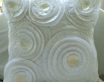 Vintage Charm - Euro Sham Covers - 26x26 Inches Silk Pillow Cover with Ruffles and Pearls
