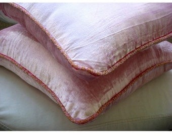 Soft Pink Shimmer - Pillow Sham Covers - 24x24 Inches Velvet Pillow Sham Cover with a handmade beaded border