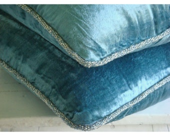 Decorative Throw Pillow Covers Accent Pillow Couch Pillow Bed Pillow Sofa Pillow 20x20 Blue Velvet Pillow Case with Bead Cord Blue Shimmer