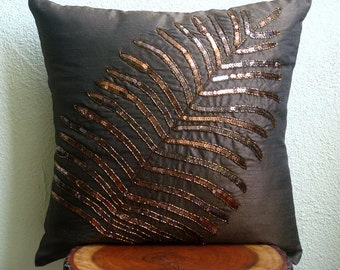 "Luxury Brown Pillows Cover, 16""x16"" Silk Pillows Cover, Square  Sequins Leaf Tropical Theme Pillows Cover - Brown Leaf"