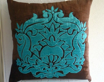 """Designer Brown Pillow Cases, Damask Applique Pillows Cover Square  18""""x18"""" Velvet Pillows Covers For Couch - Applique Damask"""