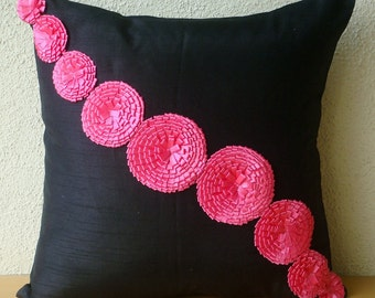 Fuchsia Flowers - Pillow Sham Covers - 24x24 Inches Silk Pillow sham Cover with Satin Ribbbon Flowers