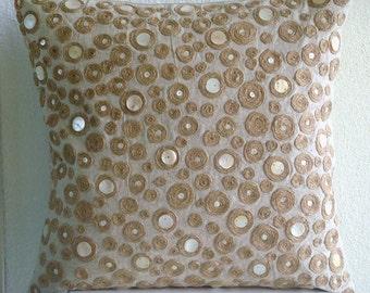 "Designer Ecru Throw Pillow Covers, 16""x16"" Cotton Linen Throw Pillows Cover, Square  Dotted Jute Pillows Cover - Jute Centric"