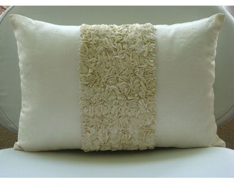 Decorative Oblong Lumbar Throw Pillow Covers Accent Pillow Couch Sofa 12x16 Inch Silk Dupioni Cover Ribbon Embroidery Ivory Love Home Living