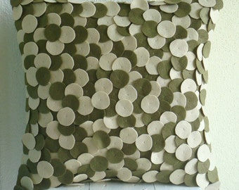 "Handmade Olive Green Decorative Pillows Cover, 16""x16"" Felt Pillow Covers, Square  Felt Applique Dotted Pillows Cover - Olivey Spots"