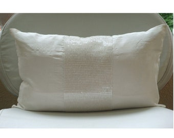 Decorative Oblong Lumbar Throw Pillow Cover Accent Pillow Couch Sofa 12x16 Inch Silk Dupioni Cover Bead Embroidered Home Living White Center