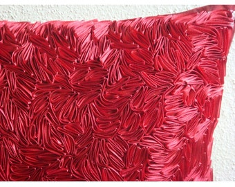 "Luxury  Ribbon Art Work Textured Pillow Covers, Red Throw Pillows Cover For Couch Silk Pillowcase, Square  20""x20"" - Red Hot Satin Ribbon"