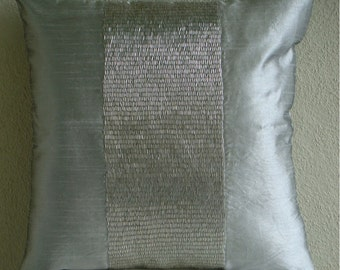 Silver Center - Euro Sham Covers - 26x26 Inches Silk Dupion Euro Sham Cover Embellished with Sequins