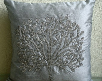 "Handmade  Beaded Tree Pillow Cases, Silver Throw Pillows Cover For Couch Silk Throw Pillows Cover, Square  20""x20"" - The Silver Tree"