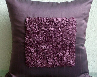 """Designer  Plum Throw Pillow Covers, Textured Ribbon Centered Pillows Cover Square  18""""x18"""" Silk Pillows Covers For Couch - Plum Vintage Love"""
