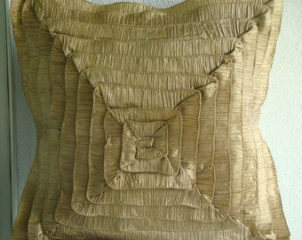 Vintage Gold Frills - Euro Sham Covers - 26x26 Inches Crushed Silk Euro Sham Cover with Frills
