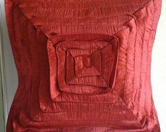 Decorative Euro Sham Covers Accent Couch Pillow 26x26 Inches Silk Euro Sham Ruffles Sofa Toss Bedroom Rust Pillows