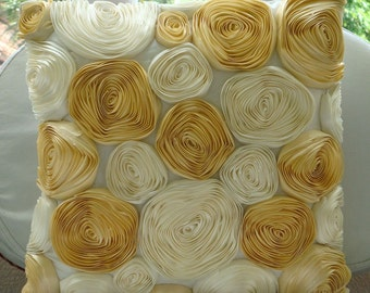 Gold N Ivory Blooms - Euro Sham Covers - 26x26 Inches with Satin Ribbon Embroidery