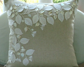 """Handmade  Rail Of Leaves Mother Of Pearls Pillows Cover, Ecru Cushion Covers Cotton Linen Pillowcase, Square  20""""x20"""" - Linen Beauty"""