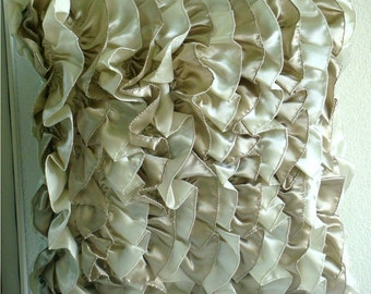 Decorative Throw Pillow Covers Couch Pillow Case Sofa Pillow Bed Toss Pillow 18x18 Satin Ruffle Pillow Cover Vintage Butterscotch Ribbon