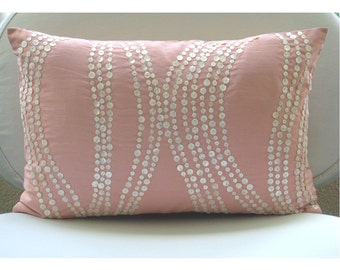 Decorative Pillows Oblong/Lumbar Throw Pillow Cover Accent Pillow 12x16 Inch Pink Silk Dupioni Cover Mother Of Pearl Embroidery Angelic Soft