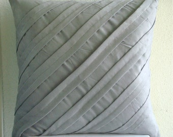 Contemporary Light Gray - Throw Pillow Covers - 18x18 Inches Suede Pillow Cover in Light Gray