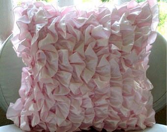 """Luxury  Vintage Style Ruffles Shabby Chic Pillow Cases, Soft Pink Pillows Cover Satin Pillows Covers For Couch, 20""""x20"""" - Vintage Soft Pink"""