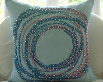 Adrift In Dreams - Throw Pillow Covers - 18x18 Inches Silk Pillow Cover with Cord Embroidery