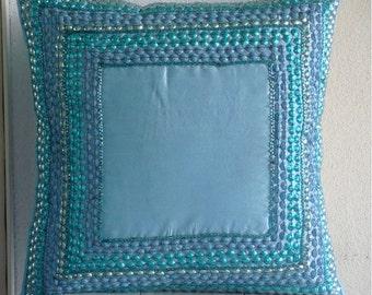 """Designer Aqua Blue Pillows Cover, 16""""x16"""" Silk Pillows Cover, Square  3D Sequins Bordered Pillows Cover - Blue Celebrations"""