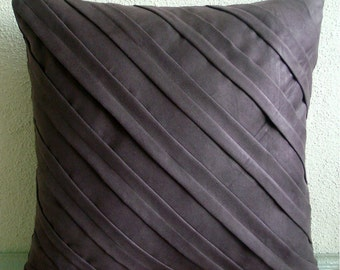 Contemporary Chocolate Brown - Euro Sham Covers - Pillow Covers 26x26 Inches, Suede Euro Sham Cover in Chocolate Brown