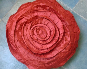 Rust Rose - Throw Pillow Covers - 18 Inches Round Silk Pillow Cover with Ruffles