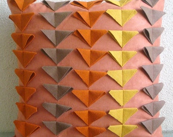 Warm Glow - Throw Pillow Covers - 18x18 Inches Suede Pillow Cover with Felt Triangles