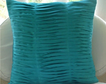 """Luxury  Textured Pintucks Solid Color Throw Pillows Cover, Aqua Blue Pillows Cover Silk Pillowcase, Square  20""""x20"""" - Gentle Waves"""