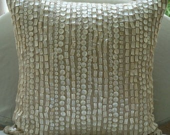 "Designer Ecru Cushion Covers, 16""x16"" Cotton Linen Pillowcase, Square  Allover Mother Of Pearls Pillows Cover - Purely Pearls"
