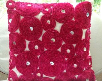 """Fuchsia Pink Pillow Cases,  Square  Ribbon Fuchsia Rose Flower Floral Theme 16""""x16"""" Silk Throw Pillows Cover - Vintage Joy"""