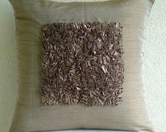 "Handmade  Light Brown Pillows Cover, Textured Ribbon Throw Pillows Cover Square  18""x18"" Silk Pillowcase - Vintage Champagne Brown"
