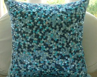 "Luxury  3D Sequins Glitter Pillows Cover, Blue Pillow Covers Silk Pillow Covers, Square  20""x20"" - Sea The Dream"