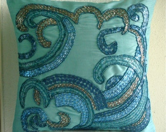 Tides - Throw Pillow Covers - 18x18 Inches Silk Pillow Cover Embellished with Sequins And Beads