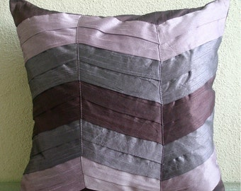 "Handmade Textured Pintucks Solid Color Pillows Cover, Plum Pillows Cover Silk Pillow Covers, Square  20""x20"" - Plum Waves"