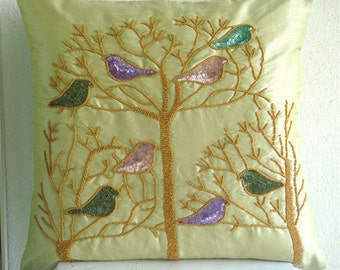 """Luxury Lime Green Throw Pillows Cover, 16""""x16"""" Silk Throw Pillows Cover, Square  Multicolor Pigeon Pillows Cover - Pigeon Love"""