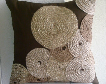 "Handmade Brown Throw Pillows Cover For Couch, 16""x16"" Silk Pillows Cover, Square  Spiral Jute Pillows Cover - Adorned By Jute"