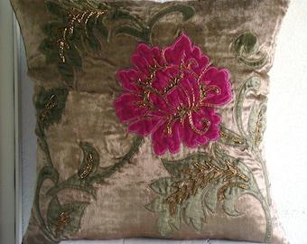 "Handmade  Multicolor Applique Floral Pillows Cover, Brown Pillow Covers Velvet Pillowcase, Square  20""x20"" - Applique Blossom"