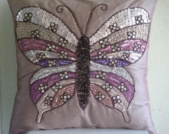 """Handmade  Pink Decorative Pillow Cover,Sequins & Beaded Butterfly Pillows Cover Square  18""""x18"""" Silk Pillows Covers For Couch-Butterfly Love"""