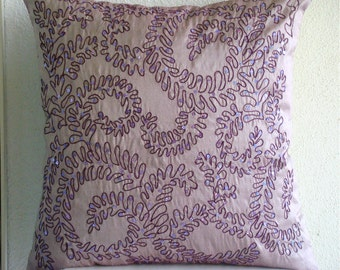 "Luxury Purple Decorative Pillow Cover, 16""x16"" Silk Pillows Covers For Couch, Square  Sequins Pillows Cover - Purple Ivy"